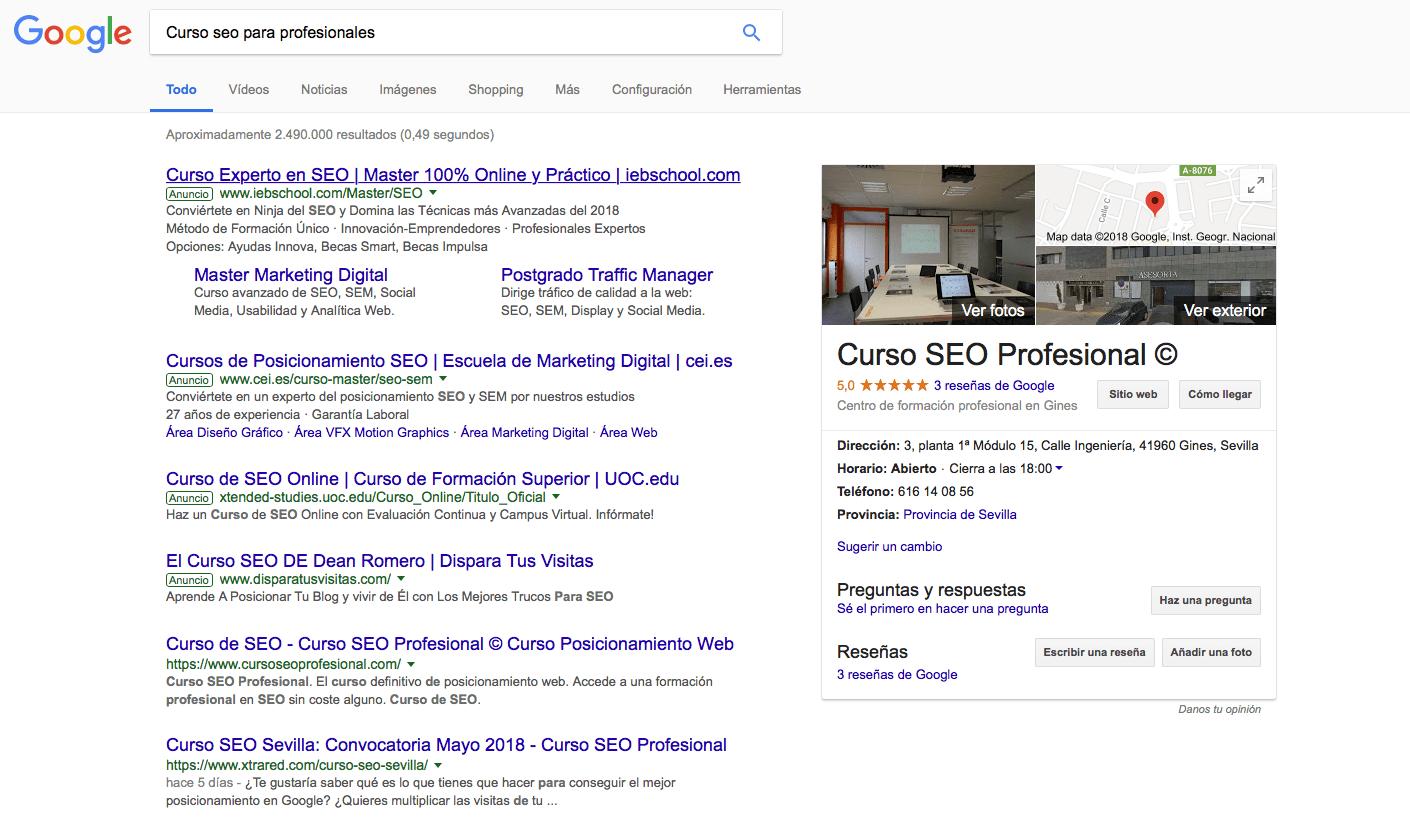 Página de resultados de una búsqueda, llamada SERP (Search Engine Result Page)