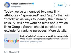 cambio enlaces google search console